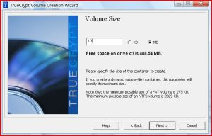Create a 10MB storage file to store all the encrypted files